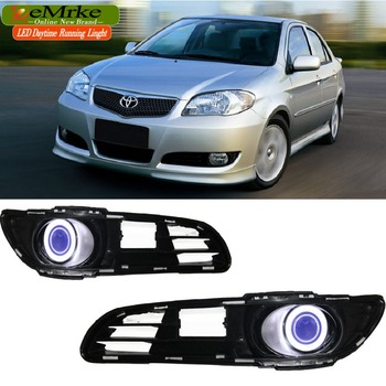 EeMrke Для Toyota Vios 2006 2007 LED Angel Eye DRL Дневного Света Tagfahrlicht Галогенные Лампы H11 55 Вт Туман огни