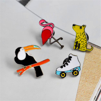 Yiustar new arrive Flamingo brooch animal female pins special shoes metal badge pin BP160-163